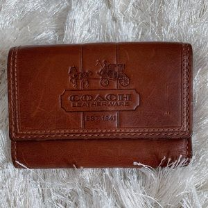 Coach Small Leather Embossed Cognac Wallet
